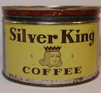 Vintage 1950s Silver King Coffee GRAPHIC KEYWIND COFFEE TIN 1 POUND Philadelphia