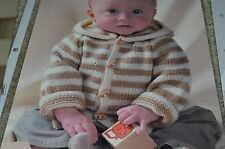 """King Cole Knitting Pattern 2821 Baby Hooded Sweater 12-24"""""""