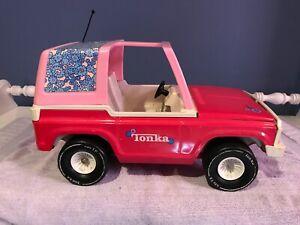 "Vintage (70's) Pink Toy Tonka  Bronco Jeep-17"""