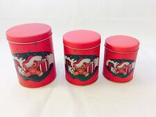 Vintage Tin Nested Cans 1988 House of Lloyd Christmas Red Tin Canisters Set of 3