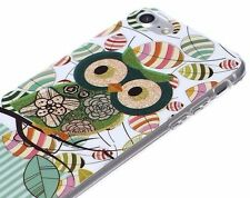 For iPhone 7 - Hard TPU Rubber Gummy Case Cover Green Glitter Tree Owl Leaves