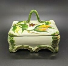 """Italian Pottery Footed Trinket Box Handled Lid Green Floral Marked 5.5"""" x 3.5"""""""