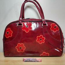 bc40e5e3ff2 Fun Floral Burgundy Vintage Embossed Patent Leather Medium Satchel Handbag  India