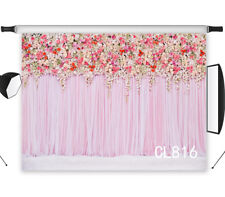 Vinyl & Polyester Pink Cloth with Flowers Background Backdrop Photography Studio