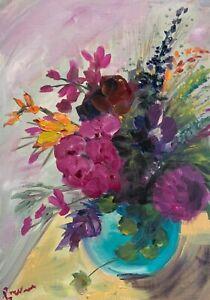Print ofOriginal oil painting art Vase of flowers Impressionism shabby chic pink