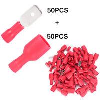 100* femelle et mâle spade connecteur isolé à sertir borne électrique fil rougBB