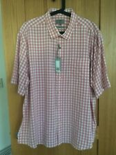 M & S Men's Short Sleeve Cotton modal Shirt 3XL Pink check BNWT