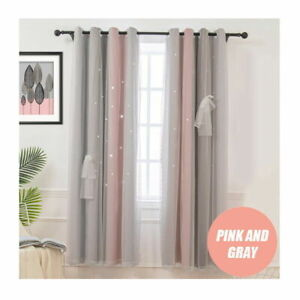 2 Layer Blockout Curtains Thermal Eyelet Ring Starry Stars Curtain+Tulle Bedroom
