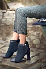 TORY BURCH 'Gracie' Navy/Black Women's Suede Ankle Boots Size 8 M $298+