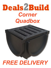 Drain Channel Plastic PVC Grate Corner Quad Box - Quadbox FREE NEXT DAY DELIVERY