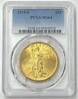 1915-S $20 Saint Gaudens Gold Double Eagle Pre-33 PCGS MS64 Blazing Color PQ++
