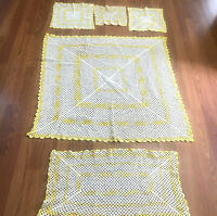 Lot Of 5 Vintage Hand Crochet Doily Runner Dresser Scarf Table Yellow White