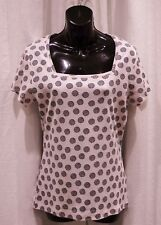 M&Co BABY PINK/BLACK SQUARE NECK S/SLEEVE COTTON TOP SIZE 14