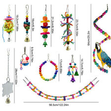 10 Pcs Parrot Toys Bird Hanging Swing Chewing Perches Toys Parrot Hammock Bell