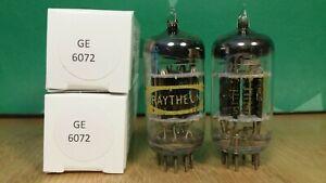 Pair of GE (Raytheon label) 6072 Triple Mica Vacuum Tubes
