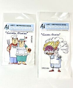 Lot Of 2 Ai Art Impressions Unmounted Original Rubber Stamps Goldies Oldies NOS