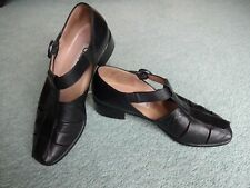 Ladies GABOR Black Leather Low Heel Ankle Strap Shoes - Size 5.5UK/EU39