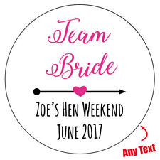 12 x large 88mm Personalised TEAM BRIDE hen party do weekend night stickers 723