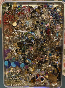 Massive 12lb Costume Jewelry Junk Craft Lot from Vintage to Modern