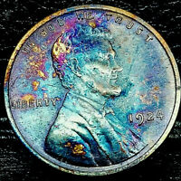 """1924 P Lincoln Wheat Penny Cent- """"Beautiful Toning"""" SUPERB MS GEM BU 00"""