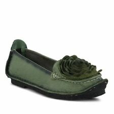 Spring Step L'artiste Dezi Slip On Leather Flower Shoes Green