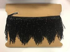 "5yd Bolt 6"" BLACK Glass BUGLE SEED Beaded Fringe CHEVRON Lamp Costume Trim"