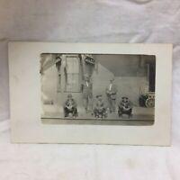 Vtg Real Photo Postcard Railroad Station Worker Group Scene Unused Late Western