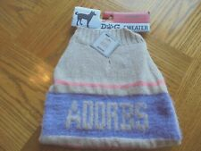 New listing New Dog Sweater Size Small (13-17 Inches) Neck to Tail in Adorbs Tan w/ Purple