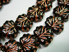 10 beads - Jet Black with Copper Czech Glass Maple Leaf Beads 11x12mm