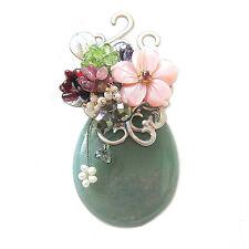 Hanabe Korea High Quality Jade Stone Shell Crystal Bead Brooch Pin Pendant Green