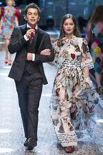 New Dolce&Gabbana Silk Chiffon I Love Cats Printed Runway Dress - 40 IT