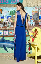 NWT Nicole Miller Jaden in Catalina Blue Silk Illusion Neck Dress Gown 4 $440