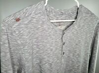 NEW Rhone Mens Element Gray Space Dye L/S Pima Cotton Henley Shirt XL 2XL Soft