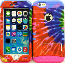 Hybrid Cover Case Apple Iphone 6 ( 4.7 inch ) Tie Dye On 2 Tone 1