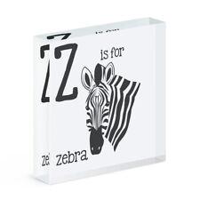 Lettres Z Is pour Zèbre Acrylique Photo Bloc Cadre Drôle Animal