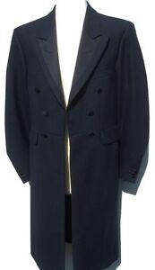 NAVY BLUE FROCK COAT WOOL EX HIRE 3XL 48 CHEST WEDDING GOTH LONG STYLE JACKET.