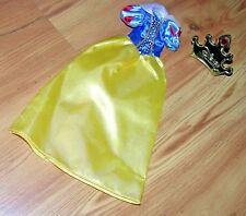 Barbie Disney Princess Snow Yellow Blue & White Dress Gown & Gold Crown Brush