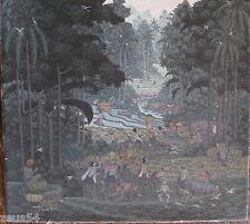 Altes  Ölbild auf Leinwand   Bali viele Menschen im Urwald , Reisfeld