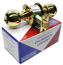 "BALL KNOB KEYED ENTRY DOOR LOCK   POLISHED  BRASS  GRADE   2 - 2-3/8"" Backset"