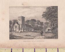 c1840 VICTORIAN PRINT ~ LONDON ~ WILLESDEN CHURCH MIDDLESEX