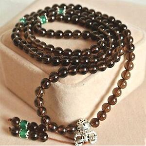 Premium Quality Smoky Quartz Buddha Prayer Beads Inner Peace Bracelet