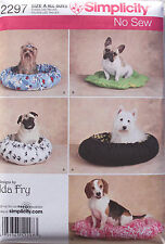 Dog Cat Pet FLEECE BED Simplicity Pattern 2297 NEW Two Styles NO SEW!!  XS-S-M