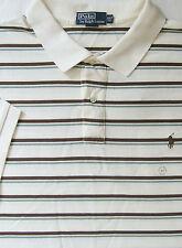 NEW $95 Polo Ralph Lauren Creme Color Striped Cotton Mesh Polo Shirt / BIG 3X