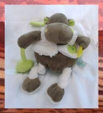 Doudou Peluche Hippopotame Pantin D'Activité Marron Vert Blanc Feuille BabyNat'