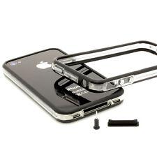 iPhone 4/4S TPU Bumper Silikon schwarz Set Case Schutz Hülle Cover Tasche