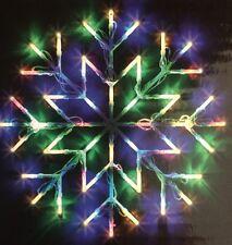 Christmas Window Snow Flake Multi Coloured Light 35x35cm Static/Flash