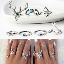 7PCS/Sets Vintage Boho Elk Deer Midi Ring Triangle Arrow Joint Knuckle Rings