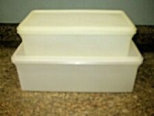 VTG TUPPERWARE LOT ~Jumbo Bread Server Keeper #606 ~Kracker Keeper #677 ~White