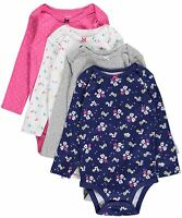 "NWT CARTER'S GIRLS 4PC ""SPRING DAWNING"" L/S BODYSUITS NAVY GRAY PINK NB & 6M"