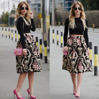 New Retro Women Sexy A Line Flared Skater Skirt High Waist Party Midi Dress 6-14